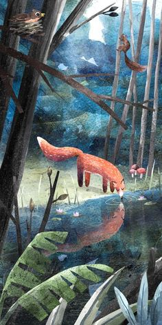 ~drinking fox river reflection illustration by Richard Smythe Illustration Inspiration, Illustration Design Graphique, Inspiration Art, Children's Book Illustration, Forest Illustration, Animal Illustrations, Watercolor Illustration, Art Fox, Illustrator