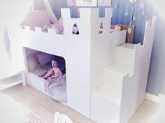 Beds For Kids Girls, Bunk Beds For Girls Room, Baby Boy Rooms, Kid Beds, Girls Bedroom, Girls Cabin Bed, Ikea Kura Bed, Castle Bed, Princess Room