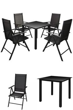 Black Metal Garden Dining Set Balcony Frniture Table 4 Recliner Folding Chairs
