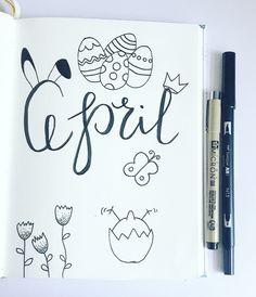 #handlettering #bulletjournal #bujo #april #brushlettering #doodles #easterdoodles #easter