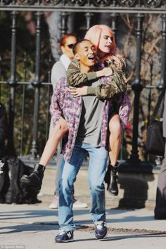 nowhollywood: Cara Delevingne and Jaden Smith on the set of