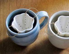 Porcelain Tea Strainer for Loose Leaf Tea from AtelierPetit Pottery Mugs, Ceramic Pottery, Ceramic Art, Tea Strainer, Paperclay, Porcelain Ceramics, Porcelain Jewelry, Cold Porcelain, Porcelain Tile