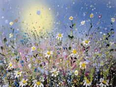 ARTFINDER: Daisy burst (framed) by Jane Morgan - This is a lovely happy original painting. I used acrylic and inks with some glitter for sparkle. All ready to hang in a white wooden frame with mount and acr...