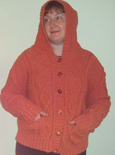 Ladies Hooded Jacket in 100% Pure Scottish Aran - Large Size