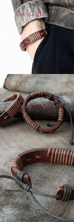 Genuine Leather Bracelets Layered Knit Weaved Vintage Gift Jewelry Accessories Unisex Men Women