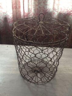 Vintage Cool Lidded Wire Basket  Chicken Wire Style by redposie, $35.00