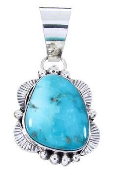 Turquoise Genuine Sterling Silver American Indian Jewlery Pendant AW66279 http://www.silvertribe.com