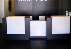 Reception Desk (Perfect for physician office, Yoga Studio, restaurant, hotel, boutique etc.)  •Custom wood and white onyx reception desk with built in drawers.  •Room for three reception attenda...