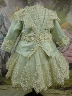 Wonderful French aqua silk and lace antique dolls dress for a Bru, Jumeau, Steiner, Gaultier or other antique Bébé from Stairway To The Past on Ruby Lane