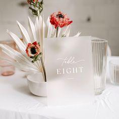 Frosted Acrylic Wedding Table Numbers with White Ink Wedding Signage, Wedding Reception, Reception Decorations, Table Decorations, Diy Wedding, Wedding White, Modest Wedding, Nautical Wedding, Handmade Wedding