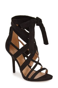 b75e883d227dee Crossover straps and a dramatic tie detail elevate this stiletto sandal in  lush suede. Pairing