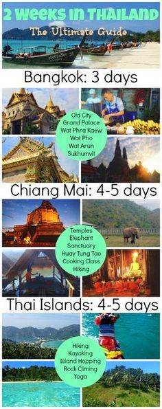 Detailed itinerary and guide for 2 weeks in Thailand, including Bangkok, Northern Thailand, and Thai Islands. The very best of Thailand in 2 weeks! 2 Weeks In Thailand, Thailand Vacation, Thailand Honeymoon, Thailand Travel Tips, Asia Travel, Thailand Itinerary 2 Weeks, Visit Thailand, Phuket Thailand, Italy Travel