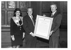 Throwback Thursday in Economic Development: Mark DeMichele being presented the 1996 Citizen Leadership Award by Ioanna Morfessis (CUED Chair 1992-1994) and Thomas Blanchard (CUED Chair 1986-1988).
