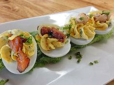 """DEVILED EGGS:"" Two Ways, #Lobster Claw, #Pork Belly."
