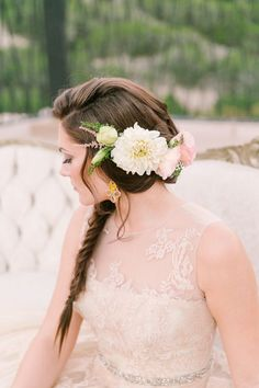 Wedding Hair With Flowers & jewels  :    Soft, romantic French inspired wedding inspiration | photo by Mint Photography | Read more – www.100layercake….  - #WeddingHairStyle https://youfashion.net/wedding/wedding-hair-style/wedding-hair-with-flowers-jewels-soft-romantic-french-inspired-wedding-inspiration-photo-by-mint-photography/