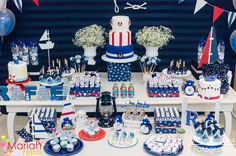 Festa tema marinheiro | Festa infantil | Decoração by Mariah festas Happy Birthday Jesus, Baby First Birthday, Boy Birthday Parties, Baby Shower Parties, Baby Shower Themes, Baby Boy Shower, Nautical Mickey, Nautical Party, Navy Party