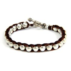 Intertwined Silver Barrel Bead Mens Bracelet on Brown Leather
