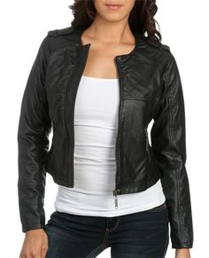 Quilted Cropped Leatherette Jacket - Teen Clothing by Wet Seal