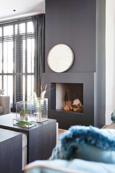 pronkkamer Home Fireplace, Fireplaces, New Living Room, Interior Exterior, Room Colors, Beautiful Interiors, Sweet Home, New Homes, Home And Garden