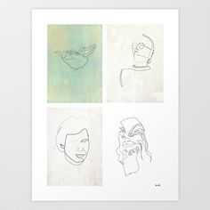 One line  Starwars Poster 2 Art Print by Quibe - $22.88