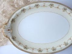 Large Vintage Meito Vivian Pink Floral Serving by thechinagirl