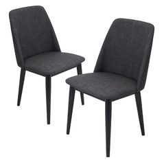 These elegant and mid-century modern chairs feature solid wood construction legs and an upholstered fabric seat with padding for comfort.