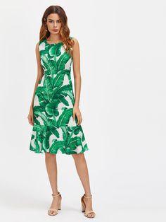107973785b6c Green Palm Leaf Sleeveless Zipper Back Frill Hem Dress