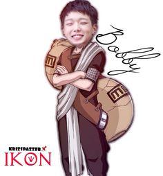 Bobby as gaara iKONxNARUTO #fanart #ikon #junhoe #kpop #YG #teamB #naruto