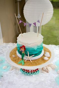 Ariel birthday cake     *(I made the cake. Photo and setup done by the client). www.facebook.com/sweetbeecakery