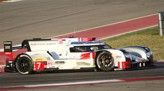 The Audi R18 E-Tron Quattro races at the 2015 Lone Star Le Mans.