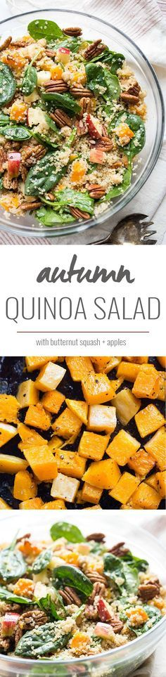 A simple fall quinoa salad packed with roasted butternut squash, chopped apples, pecan and spinach! All clean eating ingredients are used for this healthy quinoa recipe. Pin now to make later!