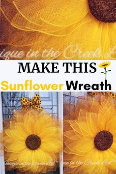 How to Make DIY Sunflower Wreaths How to Make DIY Sunflower Wreaths BayBay SweetnJuicey baybaysweetnjui Deco mesh Easy beautiful and sooo much fun sunflower wreath making nbsp hellip How To Make Sunflower, Sunflower Crafts, Sunflower Wreaths, Diy Spring Wreath, Diy Wreath, Wreath Ideas, How To Make Diy, How To Make Wreaths, Homemade Wreaths