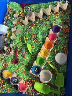 Easter sensory bin I died green rice in 2 different shades of green. Easter Activities For Preschool, Easter Crafts For Toddlers, Spring Crafts For Kids, Spring Activities, Sensory Activities, Infant Activities, Sensory Table, Baby Sensory, Sensory Bins