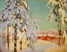 """Winter Landscape with Pink House"" by Lawren Harris, 1918 (Canadian artist from the Group of Seven.)"
