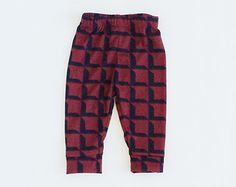 Black and red square cotton knit fabric baby / toddler leggings / pants for boy or girl
