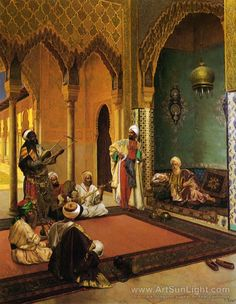 Traveling Musicians Playing for the Sultan oil painting by Rudolf Ernst