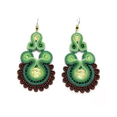 Soutache earrings green brown jewelry handmade shop gift for sale to buy orecchini pendientes oorbellen Ohrringe brincos örhängen by SoutacheFlowOn on Etsy