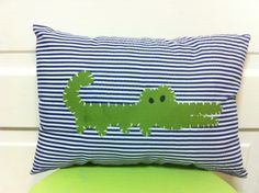 Alligator nursery pillow/alligator madras nursery decor/ alligator nursery. $22.00, via Etsy.