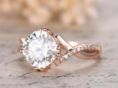 Huge 2.25 Round cut Moissanite and Diamond Engagement Ring in Rose Gold | Price: $549.00 USD on Shygems #hugediamondrings #moissaniteengagementrings