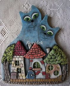 Painting mural drawing Modeling Casting Koty- nerozluchniki of gypsum plaster dough salty photo 1 Polymer Clay Kunst, Polymer Clay Projects, Diy Clay, Clay Tiles, Ceramic Clay, Pottery Houses, Clay Cats, Clay Wall Art, Clay Ornaments