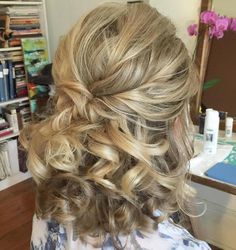 Curly Half Up Hairstyle For Medium Hair