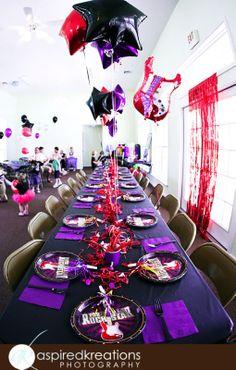 Black, red, and purple Rockstar birthday party theme