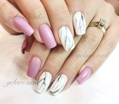 Marble accent nails with pink!