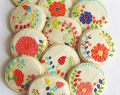 Mexican Embroidery / Floral Embroidery / Flower Sugar Cookies with Buttercream Frosting Flower Sugar Cookies, Cupcake Cookies, Cupcakes, Frosted Sugar Cookies, Rose Cookies, Mexican Embroidery, Floral Embroidery, Mexican Embroidered Dress, Learn Embroidery