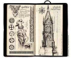 Sketchbook #6 | Sketches for a Gothic-styled interior. On th… | Flickr
