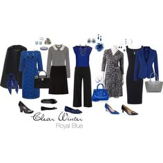 """""""Royal Blue"""" by simplycrimson on Polyvore -- Clear royal blue turns simple gray and black pieces into elegant, eye-catching outfits, making it a perfect pop color for a Clear Winter."""