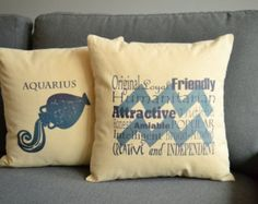 Set of 2 Aquarius Zodiac Sign Pillows- Cotton Covers and or Cushions - 14x14, 16x16, 18x18, 20x20