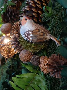 I love the woodland theme for Christmas.  The evergreen smells and the natural textures of the ornaments evoke an elemental response of childhood awe.