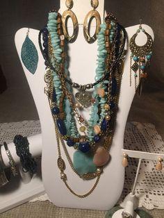 Vintage Jewelry Lot 5 Necklaces 4 Bracelets by VintageFlowerTop