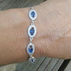 Sterling silver Solid sterling silver .925, blue and white sapphire tennis bracelet from luxury lifestyle collection. Jewelry Bracelets